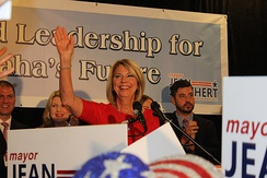 Stothert celebrating her victory