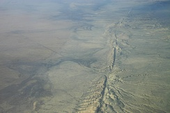 Aerial photo of the San Andreas Fault in the Carrizo Plain, northwest of Los Angeles