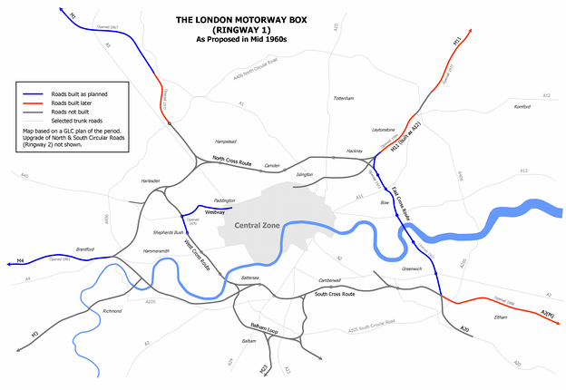 Proposed Motorways in Central London scheme from the mid-1960s, showing the Westway
