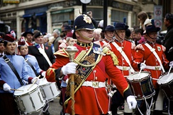 The Princess of Wales's Royal Regiment's Corp of Drums at the Lord Mayor's Show in 2010