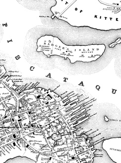 Map of Badger's Island, showing Fernald & Pettigrew Shipyard (1850)