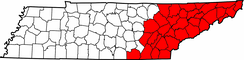 Map of Tennessee highlighting East Tennessee