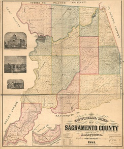 1885 map showing the boundaries of the county's 14 civil townships