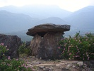 A dolmen erected by Neolithic people in Marayur, Kerala, India.