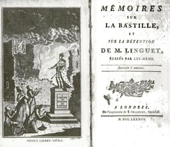 Linguet's Mémoires sur la Bastille, depicting the fictional destruction of the Bastille by Louis XVI