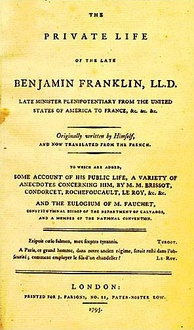Cover of the first English edition of Benjamin Franklin's autobiography, 1793