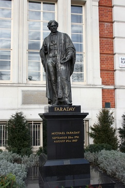 Michael Faraday statue in Savoy Place, London. Sculptor John Henry Foley RA.