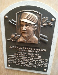 Welch's plaque at the National Baseball Hall of Fame and Museum