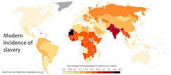 Modern incidence of slavery, as a percentage of the population, by country.
