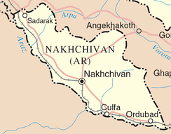 Detailed map of Nakhchivan, showing cities.