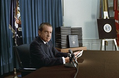 Nixon announces the release of edited transcripts of the Watergate tapes, April 29, 1974
