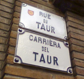 This bilingual street sign in Toulouse, like many such signs found in Toulouse's historical districts, is maintained primarily for its antique charm, and is typical of what little remains of the lenga d'òc in southern French cities.