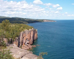 Palisade Head on Lake Superior formed from a Precambrian rhyolitic lava flow.[16]