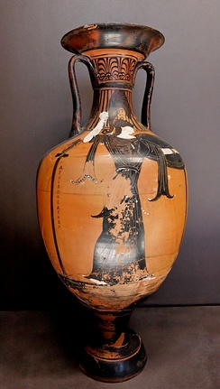 "Athena on a prize amphora with the inscription ""Archippos, archon"" (321/320 BC) found in Benghazi, now in the Louvre, Paris"