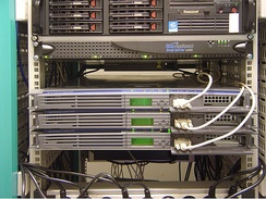 "An example of ""rack mounted"" servers"