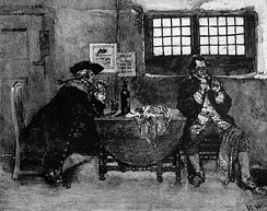 Henry Every is shown selling his loot in this engraving by Howard Pyle. Every's capture of the Grand Mughal ship Ganj-i-Sawai in 1695 stands as one of the most profitable pirate raids ever perpetrated.