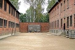 "The ""death wall"" showing the death-camp flag, the blue-and-white stripes with a red triangle signifying the Auschwitz uniform of political prisoners."