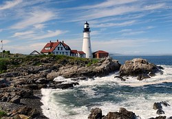 The Portland Head Light, a famous lighthouse located in Cape Elizabeth