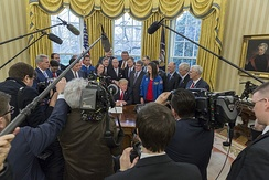 President Trump talking to the press, March 2017