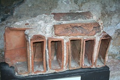 Roof fragment of Roman bath in Bath, Somerset, England