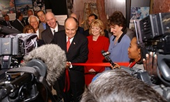 Giuliani cutting the ribbon of the new Drug Enforcement Administration mobile museum in Dallas, Texas, in September 2003