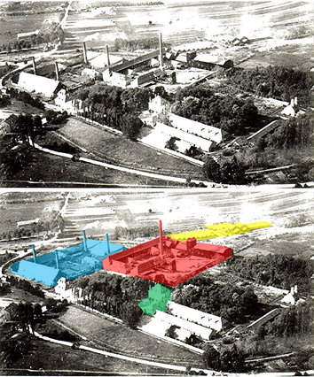 Aerial view of Gouhenans factories.   .mw-parser-output .legend{page-break-inside:avoid;break-inside:avoid-column}.mw-parser-output .legend-color{display:inline-block;min-width:1.25em;height:1.25em;line-height:1.25;margin:1px 0;text-align:center;border:1px solid black;background-color:transparent;color:black}.mw-parser-output .legend-text{}  Salina    Chemical factory     Glass factory    Administrative offices