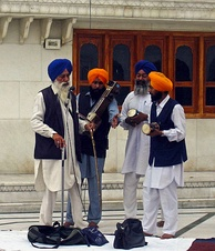 A group of Sikh musicians at the Golden Temple complex