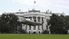 A developmental VH-92A helicopter conducts landing and take-off testing at the White House South Lawn in September 2018.