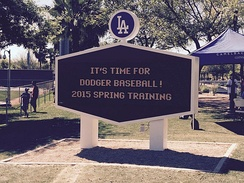 Sign greeting visitors to Dodgers spring training