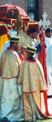 Ethiopian Orthodox clergy lead a procession in celebration of Saint Michael