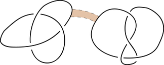 Find a rectangle in the plane where one pair of sides are arcs along each knot but is otherwise disjoint from the knots.