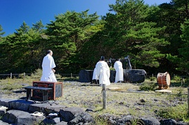 A ritual at the Takachiho-gawara, the sacred ground of the descent to earth of Ninigi-no-Mikoto (the grandson of Amaterasu).