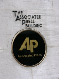 Logo on the former AP Building in New York City
