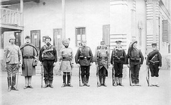 Troops of the Eight-Nation Alliance in 1900. Left to right: Britain, United States, Australia, India, Germany, France, Austria-Hungary, Italy, Japan.