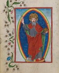 A figurative drawing of God, in the old German prayer books (Waldburg-Gebetbuch), about 1486