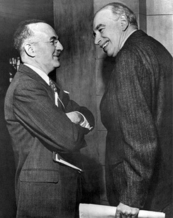 "John Maynard Keynes (right) and Harry Dexter White, the ""founding fathers"" of both the World Bank and the International Monetary Fund (IMF).[8]"