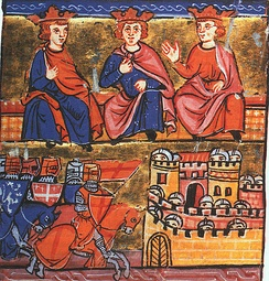 Second Crusade council: Conrad III of Germany, Eleanor's husband Louis VII of France, and Baldwin III of Jerusalem