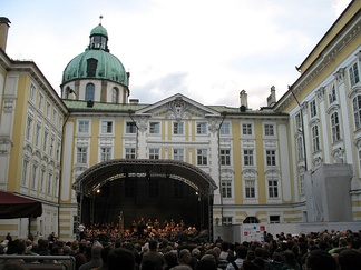 A band performing traditional music at the Imperial Palace, Innsbruck