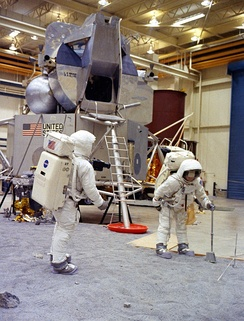 Apollo 11 astronauts Neil Armstrong (left) and Buzz Aldrin train in Building 9 on April 18, 1969