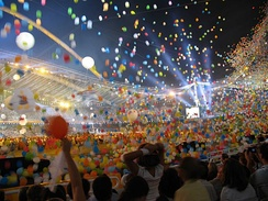 Balloons falling at the Athens 2004 Olympics Closing ceremony