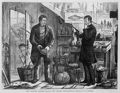 An 1874 newspaper illustration from Harper's Weekly showing a man engaging in barter by offering various farm produce in exchange for his yearly newspaper subscription.