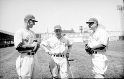 Rabbit Maranville (center) as manager of the Montreal Royals between two players, 1938