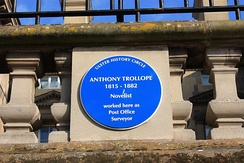 Plaque on Custom House in Belfast, where Trollope maintained his office as Postal Surveyor for Northern Ireland.[13]