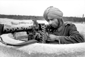 An Indian Wehrmacht volunteer in a Tobruk DFP along the Atlantic Wall, 1944