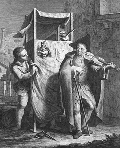 British Puppet theatre (Punch and Judy style), c. 1770