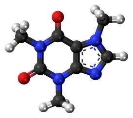 A ball-and-stick representation of the caffeine molecule (C8H10N4O2).