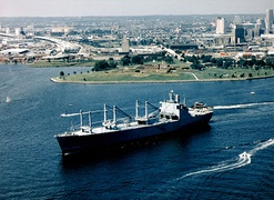 GTS Admiral W. M. Callaghan (T-AKR-1001), an O-class, gas turbine powered roll-on/roll-off cargo ship