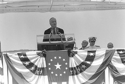 Mathias speaking at the commissioning ceremony for the USS Baltimore attack submarine, July 24, 1982.