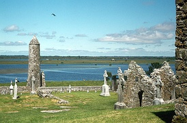 The ruins of the ancient monastery at Clonmacnoise, County Offaly