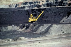Surface coal mining in Wyoming in the United States.